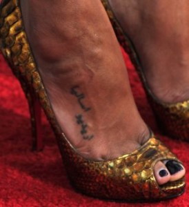 Zoe Saldana's Arabic tattoo on her foot